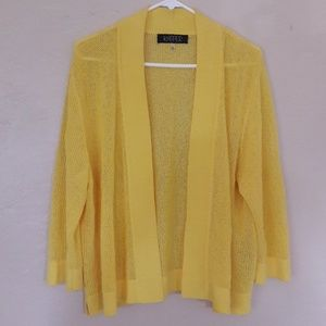 KASPER yellow knitted 3/4 sleeve open cardigan